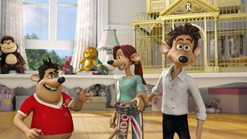 Sid (voiced by Shane Richie), Rita (voiced by Kate Winslet ) and Roddy (voiced by Hugh Jackman ) in DreamWorks Animation's Flushed Away