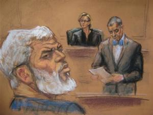 Courtroom deputy Pecorino reads the verdict alongside Judge Forrest and al-Masri, the radical Islamist cleric facing U.S. terrorism charges, in this artist's sketch in New York