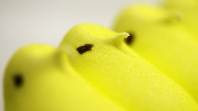 In this Wednesday, Feb. 13, 2013 photo, displayed are Peeps at the Just Born factory in Bethlehem, Pa. With the storied candy brand celebrating its 60th anniversary this year, a quirky new TV ad campaign talks about all the things people do with their Peeps. (AP Photo/Matt Rourke)