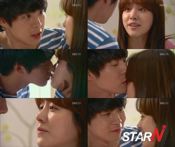 Park Yu-cheon gives a morning kiss to Han Jimin