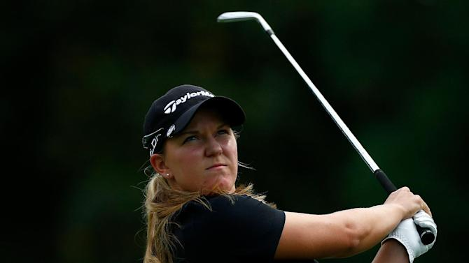 Austin Ernst tees off on the 2nd hole during the final round of the LPGA Portland Classic on August 31, 2014 in Portland, Oregon