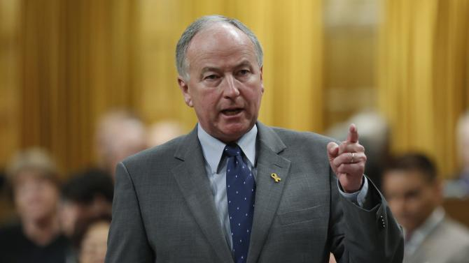 Canada's Defence Minister Nicholson speaks in the House of Commons in Ottawa