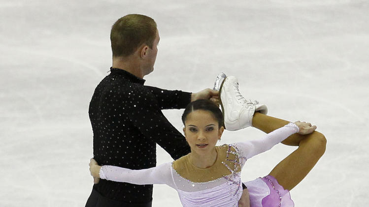 Vera Bazarova and Yuri Larionov of Russia perform during their Pairs Short program at the ISU 2012 World Figure Skating Championships in Nice, southern France, Wednesday, March 28, 2012. (AP Photo/ Francois Mori)