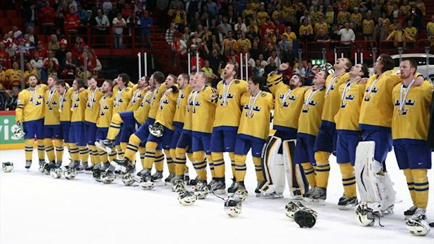 Sweden's players sing their national anthem after their 2013 IIHF Ice Hockey World Championship final match victory over Switzerland (Reuters)