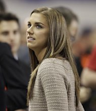 Alex Morgan, of the United States women's national team is seen before the start of an international soccer friendly game between the Ecuador and the United States, Tuesday, Oct. 11, 2011, in Harrison, N.J. (AP Photo/Julio Cortez)