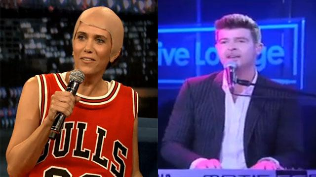 Watch Wiig & Thicke Cover Two Summer Jams