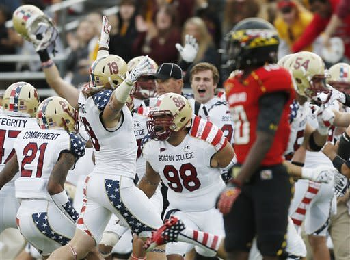 BC rallies after blown lead, beats Maryland 20-17