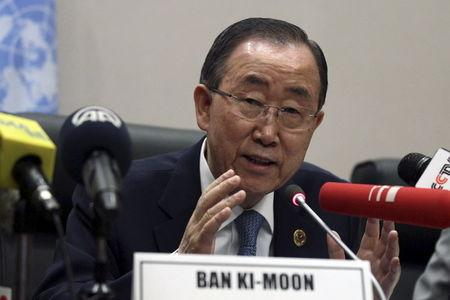 United Nations Secretary General Ban Ki-moon addresses a news conference during the Assembly of the African Union at the AU headquarters in Ethiopia&#...