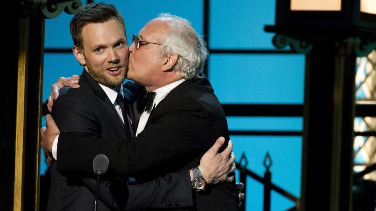 "In this April 28, 2012 photo, Joel McHale, left, and Chevy Chase from the NBC comedy series ""Community,"" appear onstage at The 2012 Comedy Awards in New York. The Comedy Awards will air on Sunday, May 6 at 9:00 p.m. EST on Comedy Central. (AP Photo/Charles Sykes)"