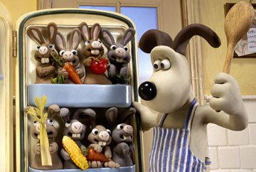 Gromit's house is overrun by captive bunnies in DreamWorks Animation's Wallace & Gromit: The Curse of the Were-Rabbit