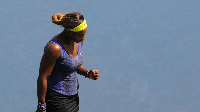 Serena Williams of the US pumps her fist during her match against Angelique Kerber of Germany on August 3, 2014 in Stanford, California