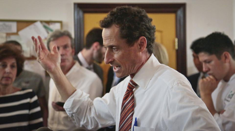 "Anthony Weiner, New York mayoral candidate, speaks during a news conference, Thursday, July 25, 2013, in New York. Weiner introduced his proposal for a ""non profit czar"" should he become mayor, but a new poll suggests his new sexting scandal is taking a toll on his mayoral prospects. (AP Photo/Bebeto Matthews)"