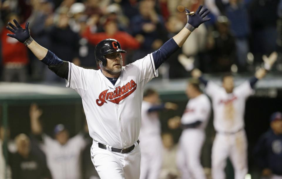 Cleveland Indians' Jason Giambi reacts after hitting a two-RBI home run off Chicago White Sox relief pitcher Addison Reed in the ninth inning of a baseball game, Tuesday, Sept. 24, 2013, in Cleveland. Michael Brantley scored. The Indians won 5-4. (AP Photo/Tony Dejak)