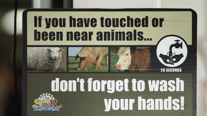 In this Aug. 1, 2012 photo, a sign warning people to wash their hands after being near farm animals hangs outside the Swine Barn at the Ohio State Fair, in Columbus. The Centers for Disease Control and Prevention said Thursday, Aug. 9, 2012, there's been a five-fold increase of cases of a new strain of swine flu that spreads from pigs to people, thanks to a wave of new cases confirmed in Indiana and Ohio, many of them attributed to contact at fairs. The flu does not seem to be unusually dangerous, like the strain in 2009 that killed at least 12,000. Most or all of the cases appear to have spread from pigs to humans, meaning it's not very contagious. (AP Photo/Columbus Dispatch, Kyle Robertson)