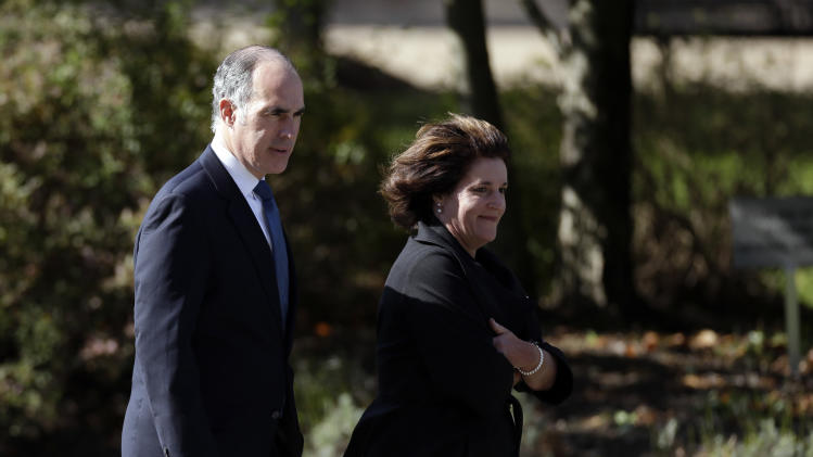 U.S. Sen. Bob Casey, D-Pa., accompanied by his wife Terese arrive at Har Zion Temple for former U.S. Sen. Arlen Specter's funeral, Tuesday, Oct. 16, 2012, in Penn Valley, Pa. Family members say Specter died Sunday of complications from non-Hodgkin lymphoma. He was 82. (AP Photo/Matt Rourke)