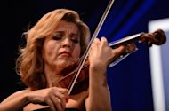 German violinist Anne-Sophie Mutter performs after receiving the Distinguished Artistic Leadership Award at the Atlantic Council 2012 Annual Awards Dinner in Washington DC, on May 7