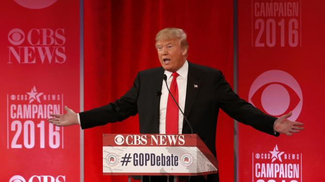 Republican U.S. presidential candidate businessman Donald Trump speaks at the Republican U.S. presidential candidates debate sponsored by CBS News and the Republican National Committee in Greenville