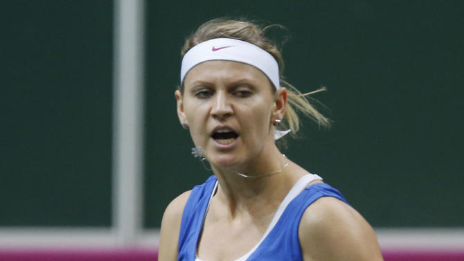 Czech Republic's Lucie Safarova reacts during the Fed Cup  final singles tennis match against Jelena Jankovic from Serbia in Prague, Czech Republic, Sunday, Nov. 4, 2012. (AP Photo/Petr David Josek)