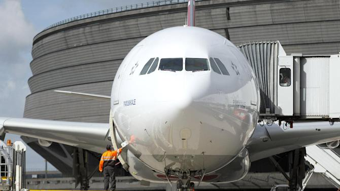 An airport employee checks a plane at Roissy-Charles-de-Gaulle airport, in France on August 18, 2014