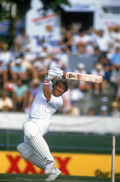 Nov 1986:  Ian Botham of England hooks the ball for another boundary on his way to 138 against Australia in the First Test at the Gabba in Brisbane, Australia. England went on to win the Test by 7 wic