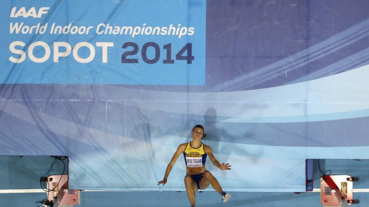 Sweden's Green Tregaro competes in the women's high jump final at world indoor athletics championships in Sopot