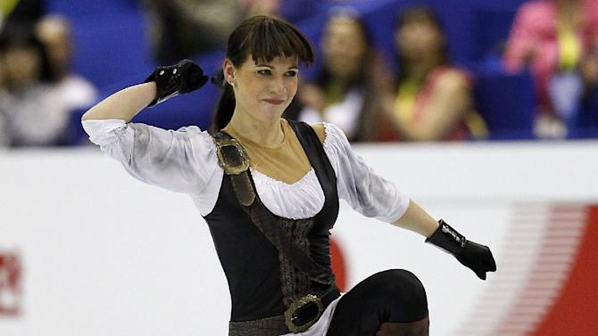 Alena Leonova of Russia reacts after she performs during her Women's short program at the ISU 2012 World Figure Skating Championships in Nice, southern France, Thursday, March 29, 2012. (AP Photo/ Francois Mori)