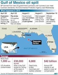 Graphic showing what happened in the 2010 Gulf of Mexico oil spill. BP has been banned from winning new US government contracts Wednesday after agreeing to plead guilty to criminal charges in the disaster