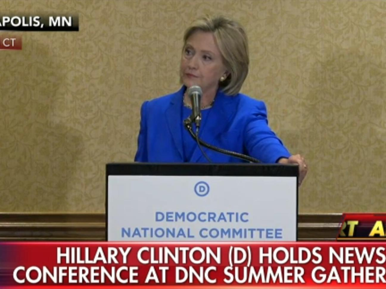 Hillary Clinton just held an uncomfortable press conference where she dismissed a question about Bill and North Korea