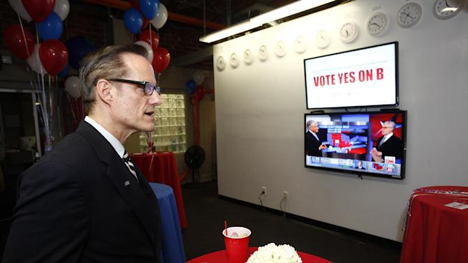 Michael Weinstein, AIDS Healthcare Foundation, President & Measure B seen at the AIDS Healthcare Foundation Election Headquarters victory party on Tuesday, November 6, 2012 in Los Angeles, California. (Joe Kohen /AP Images for AIDS Healthcare Foundation) Early results show strong support for Measure B
