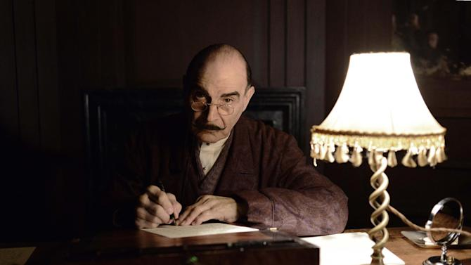 """This photo provided by ITV/Acorn TV shows David Suchet as Hercule Poirot in Agatha Christie's """"Poirot: Curtain, Poirot's Last Case,"""" premiering exclusively on Acorn TV. Suchet returns as private detective Hercule Poirot in two episodes airing starting Sunday, July 27, 2014, on PBS and streaming on Acorn TV along with three additional new episodes. (AP Photo, ITV/Acorn TV, Kieron Mccarron)"""