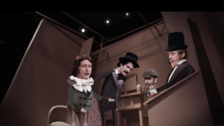 """This undated publicity photo provided by courtesy of EPIX and Brainstorm Media shows, from left, Graham Chapman, John Cleese, Eric Idle and Terry Jones, acting out a stage version of Oscar Wilde in a scene from the animated film, """"A Liar's Autobiography: The Untrue Story of Monty Python's Graham Chapman."""" Fans will come away with a better sense of the strange inner workings of Chapman, who died of throat cancer in 1989 but is reunited with Cleese and most of his Python mates in the voice cast of """"A Liar's Autobiography,"""" which has a limited U.S. theatrical run starting Friday, Nov. 2, 2012, and has its television premiere the same day on Epix. (AP Photo/EPIX and Brainstorm Media)"""