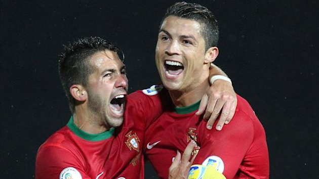 Cristiano Ronaldo celebrates a hat-trick for Portugal