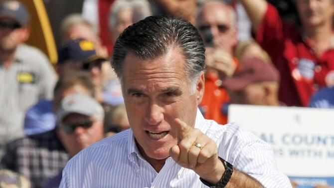 Republican presidential candidate, former Massachusetts Gov. Mitt Romney gestures during a rally in Abingdon, Va., Friday, Oct. 5, 2012.(AP Photo/Steve Helber)