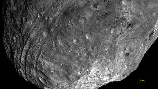 Dark Asteroids Streak Vesta's Surface With Carbon, NASA Probe Finds