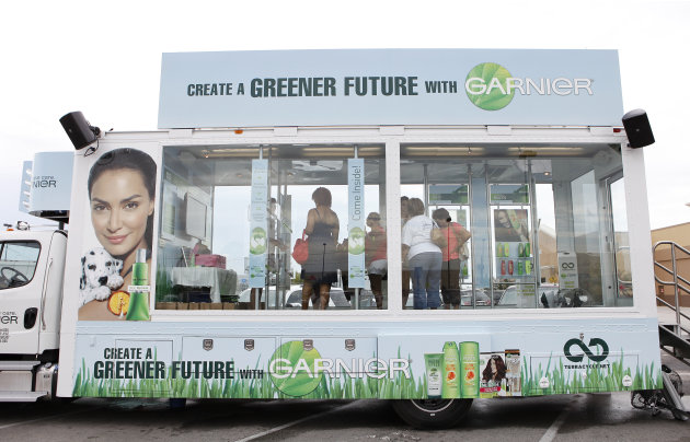 COMMERCIAL IMAGE -  A general view of The Garnier Greener Tour Bus is seen on Saturday June 16, 2012 in Houston. (Photo by Aaron M. Sprecher/Invision for Garnier/AP Images)