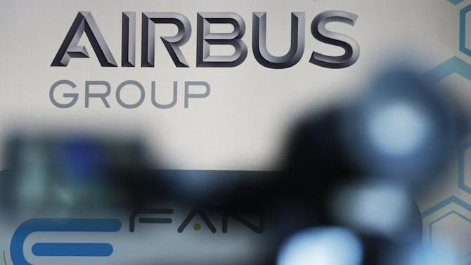 The logo of Airbus Group is seen during the first public flight of an E-Fan aircraft during the e-Aircraft Day at the Bordeaux Merignac airport