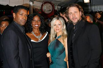 Denzel Washington , Pauletta Washington, Russell Crowe and Danielle Spencer at the New York City premiere of Universal Pictures' American Gangster
