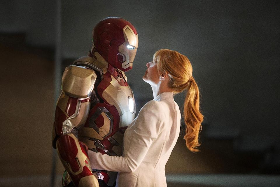 "This film publicity image released by Disney-Marvel Studios shows Gwyneth Paltrow as Pepper Potts with  in a scene from ""Iron Man 3.""  (AP Photo/Disney, Marvel Studios)"