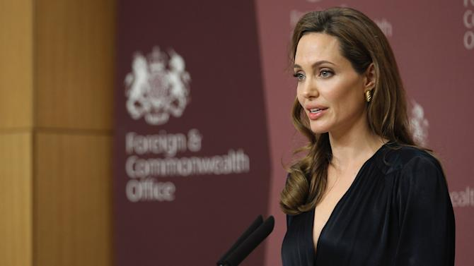 Hollywood Actress Angelina Jolie Attends A Foreign Office Briefing On Preventing Sexual Violence In Conflict