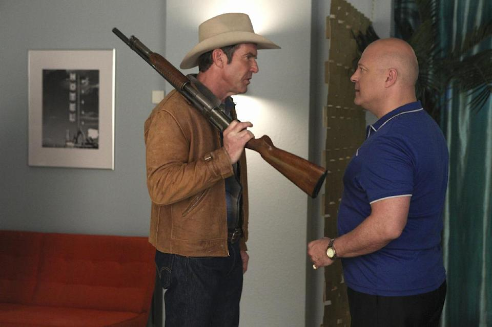 "This image released by CBS shows Dennis Quaid as Ralph Lamb, left, and Michael Chiklis as Vincent Savino in the pilot episode of ""Vegas,""  premiering Tuesday, Sept. 25 at 10 p.m. EST on CBS. (AP Photo/CBS, Lorey Sebastian)"