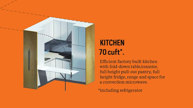 New York micro-apartment design winner announced orange kitchen