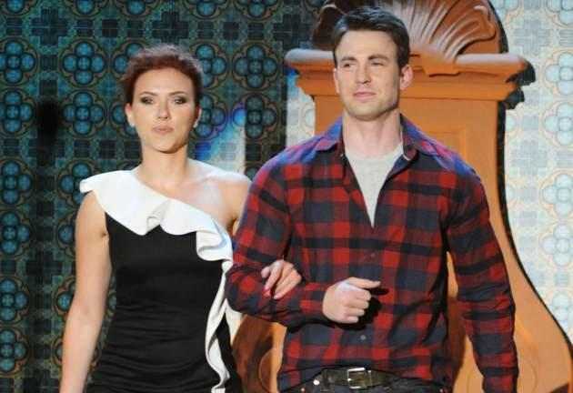 Scarlett Johansson and Chris Evans appear onstage during Spike TV's 5th annual 2011 'Guys Choice' Awards at Sony Pictures Studios on June 4, 2011 in Culver City, Calif. -- Getty Premium
