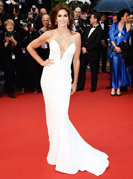 Cindy Crawford, 47, Looks Ageless in Sexy White Gown at Cannes Film Festival