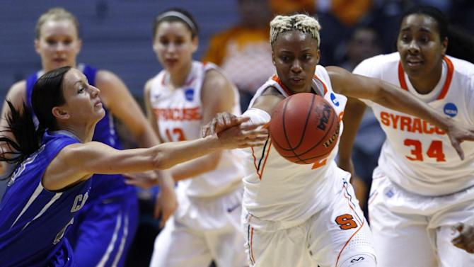 Syracuse guard Elashier Hall, right, attempts to steal the ball from Creighton guard Marissa Janning (23) during the first half of a first-round game in the women's NCAA college basketball tournament on Saturday, March 23, 2013, in Knoxville, Tenn. (AP Photo/Wade Payne)