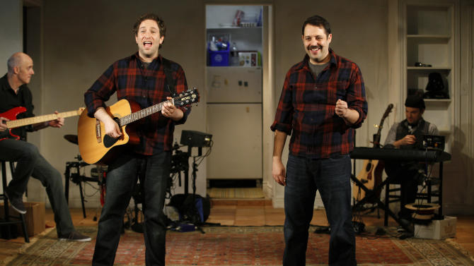 """This undated theater image released by the Soho Playhouse shows David Rossmer, left, and Steve Rosen performing in """"The Other Josh Cohen,"""" running through Nov. 11, 2012, at the scenic SoHo Playhouse in New York. (AP Photo/Soho Playhouse, Carol Rosegg)"""