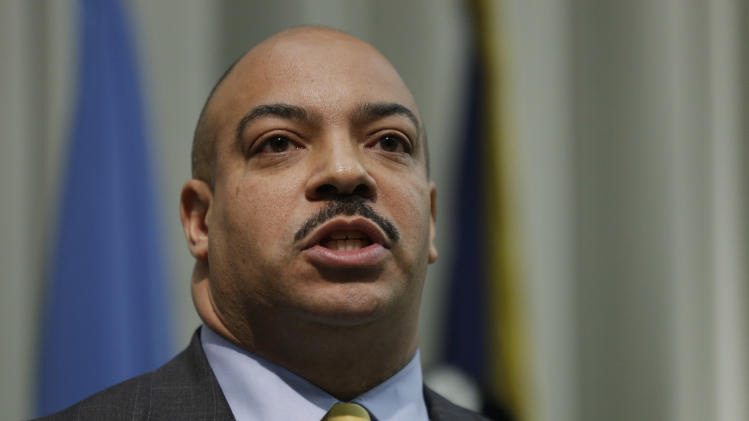 District Attorney Seth Williams speaks to members of the media, Wednesday, May 15, 2013, in Philadelphia. Dr. Kermit Gosnell was convicted this week of first-degree murder in the deaths of three babies born alive, then stabbed with scissors. He was given two life sentences Tuesday in a deal with prosecutors that spares him a potential death sentence, and the third sentence was handed down Wednesday. (AP Photo/Matt Rourke)