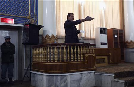 Ferozi, former Chief Executive of Kabulbank, speaks at a court in Kabul