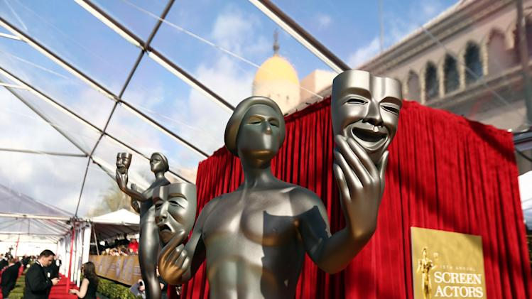 A statue is displayed at the 19th Annual Screen Actors Guild Awards at the Shrine Auditorium in Los Angeles on Sunday, Jan. 27, 2013. (Photo by Matt Sayles/Invision/AP)