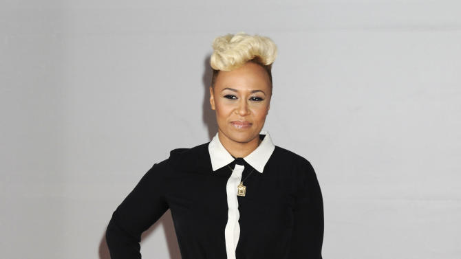 Singer Emeli Sande arrives for the Brit Awards 2012 at the O2 Arena in London, Tuesday, Feb. 21, 2012. (AP Photo/Jonathan Short)
