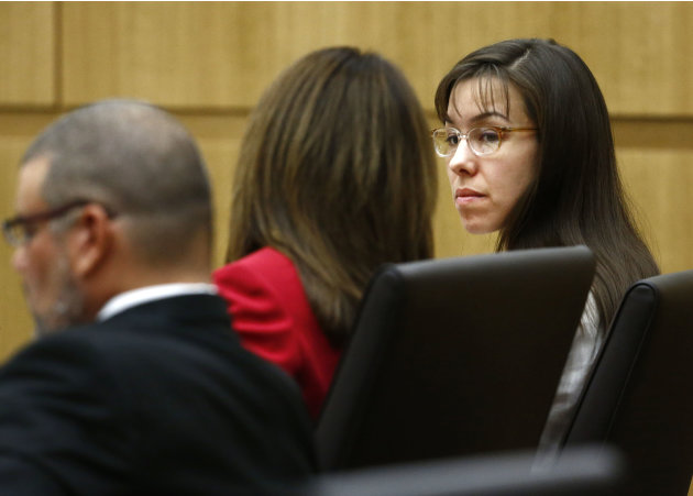 Jodi Arias looks at her defense attorney Jennifer Wilmott on Monday, May 20, 2013 during the penalty phase of Arias' murder trial at Maricopa County Superior Court in Phoenix, AZ.  Jodi Arias was conv